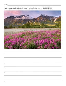 32 Printable worksheets with pictures to write Adjective Paragraphs