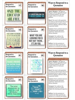 32 Response to Quote Task Cards: Writing - Many Uses - PPT + Printables