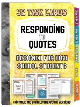 32 Response to Quote Task Cards: Writing - Many Uses - PPT