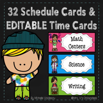 32 Schedule Cards & Editable Time Cards {with fun and colorful clip art}