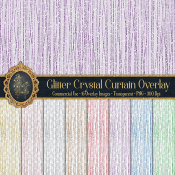 32 Glitter Crystal Curtain Strands Tinsel Hanging Overlays