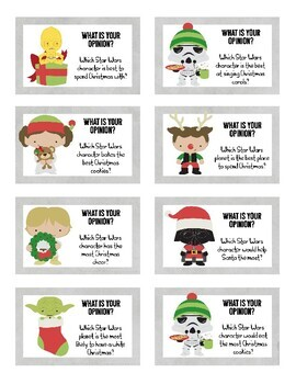 32 Star Wars Inspired Christmas Writing Prompt Cards With Recording Sheets