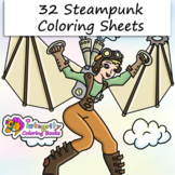 32 Steampunk (for Kids) Coloring Pages - Fun Activity (2-5)