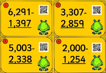 32 Subtraction Monster QR Cards - With Regrouping