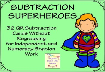32 Subtraction Superheroes QR Cards - Without Regrouping