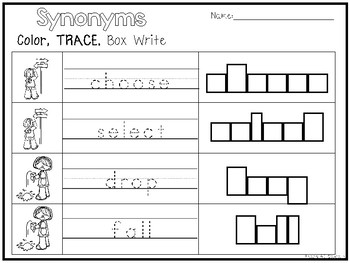 32 synonyms color and writing worksheets kindergarten 1st grade ela - Color Worksheets Kindergarten
