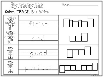 32 Synonyms Color and Writing Worksheets. Kindergarten-1st Grade ELA.
