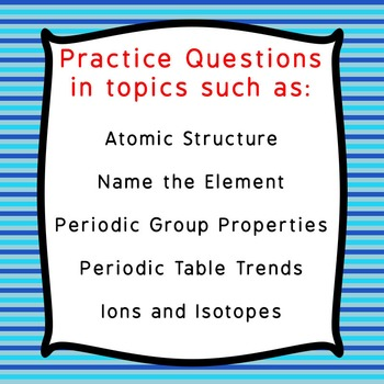 32 TASK CARDS of Periodic Table Review for General Chemistry with ANSWER KEY