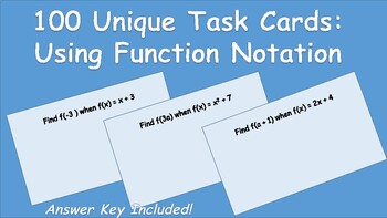 32 Task Cards: Use Function Notation to Evaluate Functions