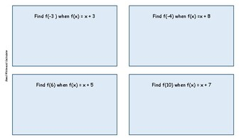 100 Task Cards: Use Function Notation to Evaluate Functions
