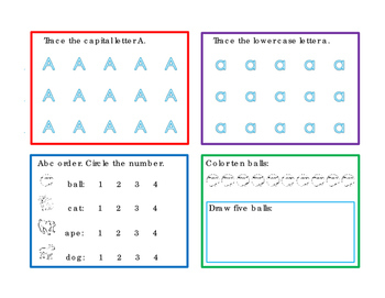 32 Task Cards Variety Theme Unit Letter A Letter B Underline Trace Draw Write