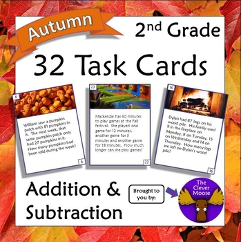 32 Task Cards for 2nd Grade Addition and Subtraction - Autumn Theme