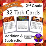 32 Task Cards for 2nd Grade Addition and Subtraction - Aut
