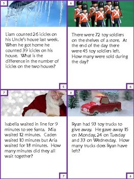 32 Task Cards for 2nd Grade Addition and Subtraction - Christmas Theme
