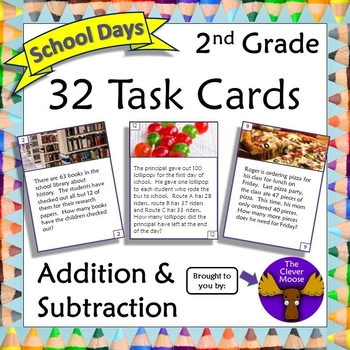 32 Task Cards for 2nd Grade Addition and Subtraction - School Days Theme