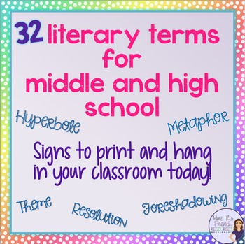 32 literary term signs for bulletin board - middle school and high school