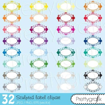 32 sculpted label clipart commercial use, vector graphics - CL493