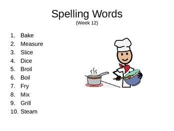 32 weeks of Spelling Words
