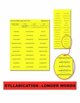 Syllabication – Longer Words Task Cards