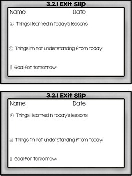 3.2.1 Exit Slips: A Daily Check for Understanding, Learning and Goal Setting