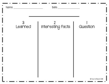 321 Graphic Organizer for Informational Content