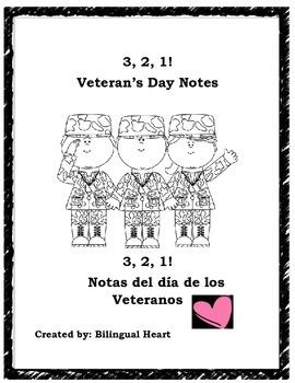 3,2,1! Veteran's Day Notes English/Spanish