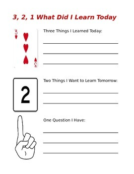 3,2,1: What Did I Learn Today? - A Daily Self-Assessment