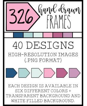 "326 Hand Drawn Clip Art : ""Amelia"" Frames : Clip Art Frames"