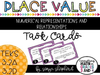 Place Value Task Cards - Word Problems - TEKS - 3.2A and 3.2D