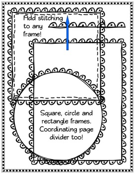 33 Black Line Doodle Frames with Coordinating Page Dividers (2)