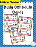 Daily Schedule Cards  -  Pocket Chart Ready - Rainbow Chevron