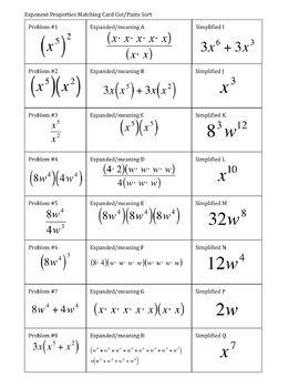 33) Exponent Properties Card Sort/Match (no negative exponents)
