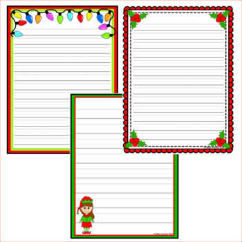 28 Christmas Writing Pages / paper. 7 designs.