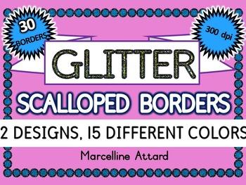 GLITTER SCALLOP BORDERS: GLITTER CLIPART FRAMES: GLITTER B
