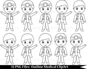 33 PNG Files- Outline Cute Little Boy Doctors - Digital Clip Art 111