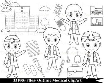 33 PNG Files- Outline Cute Little Boy Doctors - Digital Cl