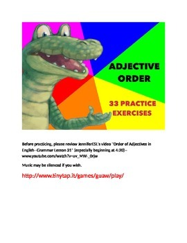 33 Practice Exercises for Adjective Order APP