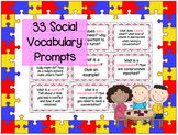 33 Social Vocabulary Prompts - Speech Therapy, Counseling, ASD