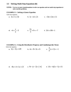 3.3 Solving Multi-Step Equations (Day 2)