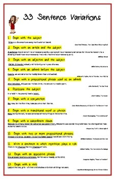 33 Ways To Write Sentences
