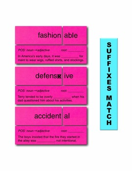 Suffixes Match Manipulatives & Task Cards