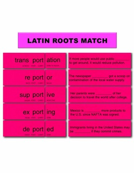 Latin Roots Match Manipulatives & Task Cards