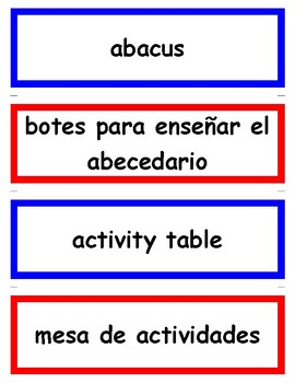 339 Dual Language Bilingual Classroom Labels Vocabulary