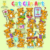 34 Cat / Kitten animal clip art images in educational sett