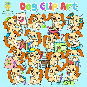 34 Dog / Puppy clip art images in educational settings - Colour and B&W