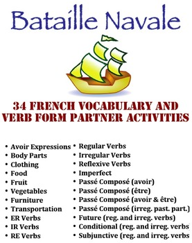 34 French Battleship Activities for Vocabulary and Verb Forms