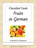34 Fruit Classified Cards in GERMAN, Montessori three part cards, Fruechte