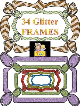 Glitter Frames - Different labels - Clip Art - Personal or commercial use