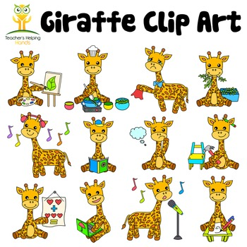 34 Giraffe clip art images in educational settings - Color and B&W