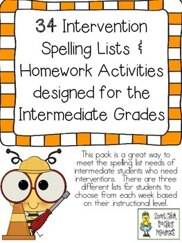 34 Intervention Spelling Lists & Activities Designed for Intermediate Grades